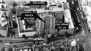 A graphic of the Russell Street police HQ bombing that killed Constable Angela Taylor and blew a good journo friend of mine, Nobba Adams, clean off his feet. The newspaper police rounds offices were in the white building to the left, with the tree in front of our doorway.