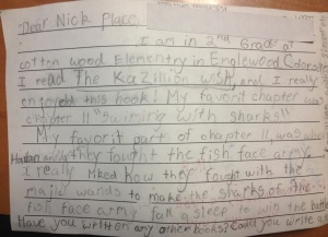 One of Nick's favourite ever fan letters; a hand-made Kazillion Wish postcard from Englewood, Colorado