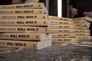 Hot off the press. Copies of 'Roll With It' at Nick's celebration, at the Grub Food Van.