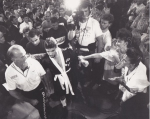 Jeff Fenech, with Johnny Lewis, makes his way to the ring. Pic: Peter Ward, The Herald.
