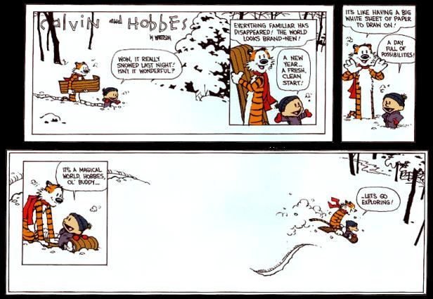Bill Watterson's final Calvin & Hobbes panels. Amen.